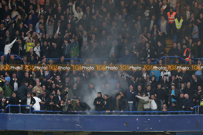 A flare is let off in the Spurs end after the opening goal during Chelsea vs Tottenham Hotspur, Barclays Premier League Football at Stamford Bridge on 2nd May 2016
