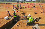 Archeological excavations during summer 2017 at Bawdsey, Suffolk, England, UK