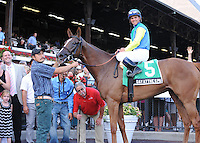 Dayatthespa (no. 5), ridden by Javier Castellano and trained by Chad Brown, wins the Riskaverse Stakes for three year old fillies on August 31, 2012 at Saratoga Race Track in Saratoga Springs, New York.  (Bob Mayberger/Eclipse Sportswire)