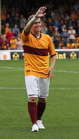 Steven Hammell applauds the crowd after the Motherwell v Everton friendly match at Fir Park, Motherwell on 21.7.12 for his Testimonial.