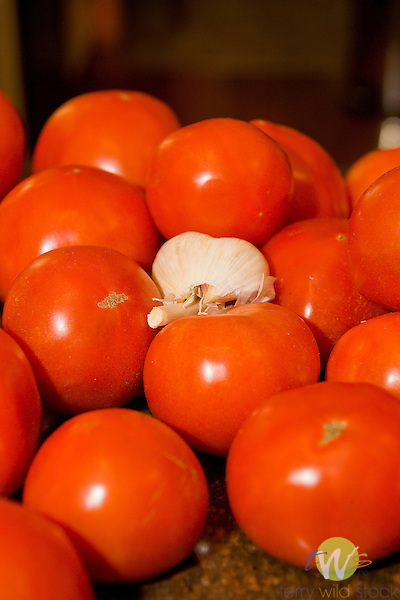 Tomatos and garlic.