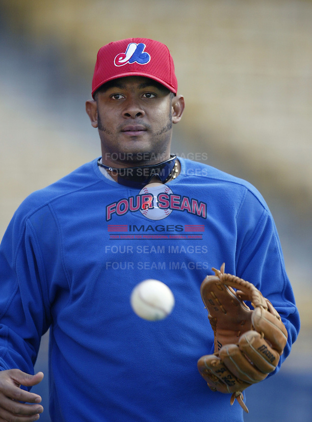 Fernando Tatis of the Montreal Expos before a 2002 MLB season game  against the Los Angeles Dodgers at Dodger Stadium, in Los Angeles, California. (Larry Goren/Four Seam Images)