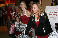 SAN ANTONIO, TX - APRIL 4:  The Stanford Dollies gather at a rally before Stanford's 73-66 win over Oklahoma in the Final Four semi-finals at the Alamo Dome on April 4, 2010 in San Antonio, Texas.
