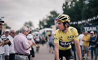 yellow Geraint Thomas (GBR/SKY) on his way to sign-in<br /> <br /> 104th Tour de France 2017<br /> Stage 4 - Mondorf-les-Bains &rsaquo; Vittel (203km)