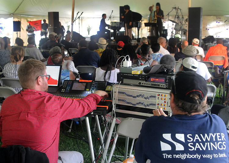 Production staff at work during the performance by the Charenee Wade Group, at the Annual Jazz in the Valley Festival,  in Waryas Park in Poughkeepsie, NY, on Sunday, August 21, 2016. Photo by Jim Peppler. Copyright Jim Peppler 2016 all rights reserved.