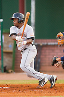 Delino DeShields Jr. #4 of the Greeneville Astros follows through on his swing against the Elizabethton Twins at Joe O'Brien Field August 15, 2010, in Elizabethton, Tennessee.  Photo by Brian Westerholt / Four Seam Images