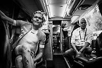 Toms Skujins (LAT/Trek Segafredo) in the teambus pre-warmup<br /> <br /> UCI MEN&lsquo;S TEAM TIME TRIAL<br /> Ötztal to Innsbruck: 62.8 km<br /> <br /> UCI 2018 Road World Championships<br /> Innsbruck - Tirol / Austria