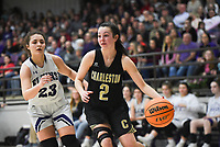 Charleston guard Brooklyn Groen (2) drives the ball, Friday, February 14, 2020 during a basketball game at Elkins High School in Elkins. Check out nwaonline.com/prepbball/ for today's photo gallery.<br /> (NWA Democrat-Gazette/Charlie Kaijo)