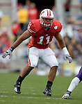 MADISON, WI - SEPTEMBER 9: Linebacker DeAndre Levy #11 of the Wisconsin Badgers plays defense against the Western Illinois Leathernecks at Camp Randall Stadium on September 9, 2006 in Madison, Wisconsin. The Badgers beat the Leathernecks 34-10. (Photo by David Stluka)
