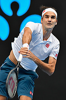 January 16, 2019: 3rd seed Roger Federer of Switzerland in action in the second round match against Daniel Evans of the United Kingdom on day three of the 2019 Australian Open Grand Slam tennis tournament in Melbourne, Australia. Federer won 76 76 63. Photo Sydney Low
