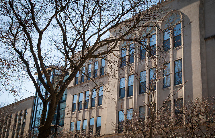 The Levan Center in Lincoln Park reflects a blue sky Tuesday, March 7, 2017. (DePaul University/Arielle Toub)