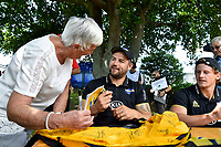 Dane Coles Signs a fan's Jersey, Super Rugby Preseason - Hurricanes v Crusaders at Levin Domain, Levin, New Zealand on Saturday 2 February 2019. <br /> Photo by Masanori Udagawa. <br /> www.photowellington.photoshelter.com