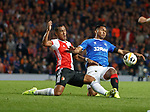 19.09.2019 Rangers v Feyenoord: Alfredo Morelos fouled by Renato Tapia
