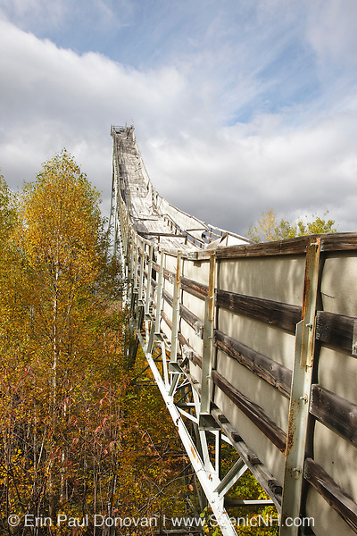 Side view of the abandoned Nansen Ski Jump in Milan New Hampshire USA. This jump was constructed in 1936 and in 1938 Olympic Trials were held here. The jump was closed in 1988.