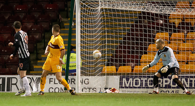 Andy Kirk scores past Darren Randolph to score for Dunfermline