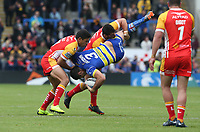 Warrington Wolves' Bryson Goodwin is tackled by Catalans Dragons' Benjamin Garcia and David Mead <br /> <br /> Photographer Stephen White/CameraSport<br /> <br /> Betfred Super League Round 17 - Warrington Wolves v Catalans Dragons - Saturday 8th June 2019 - Halliwell Jones Stadium - Warrington<br /> <br /> World Copyright © 2019 CameraSport. All rights reserved. 43 Linden Ave. Countesthorpe. Leicester. England. LE8 5PG - Tel: +44 (0) 116 277 4147 - admin@camerasport.com - www.camerasport.com