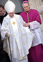 Pope emeritus Benedict XVI Monsignor. Georg Gaenswein,during the canonisation mass of Popes John XXIII and John Paul II on St Peter's at the Vatican on April 27, 2014.