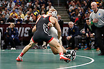 CLEVELAND, OH - MARCH 16: Hayden Hidlay, of NC State, wrestles Alec Pantaleo, of Michigan, in the 157 weight class during the Division I Men's Wrestling Championship held at Quicken Loans Arena on March 16, 2018 in Cleveland, Ohio. (Photo by Jay LaPrete/NCAA Photos via Getty Images)