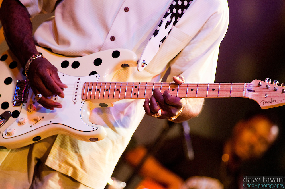 Buddy Guy strums his Fender Stratocaster during a performance at World Cafe Live! in Philadelphia, September 16, 2005.