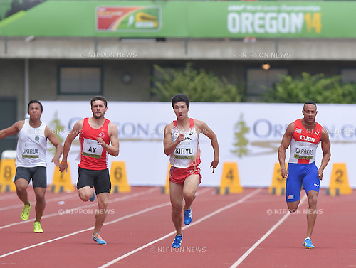 (L-R) Cajuniba Okirua (COK), Aykut Ay (TUR), Yoshihide Kiryu (JPN), Yaniel Carrero (CUB),<br /> JULY 22, 2014 - Athletics :<br /> IAAF World Junior Championships Men's 100m Heats at Hayward Field in Eugene, Oregon, United States. (Photo by AFLO)