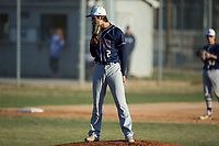 Mallard Creek Mavericks starting pitcher Tyler Delos (2) looks to his catcher for the sign against the Glenn Bobcats at Dale Ijames Stadium on March 22, 2017 in Kernersville, North Carolina.  The Bobcats defeated the Mavericks 12-2 in 5 innings.  (Brian Westerholt/Four Seam Images)