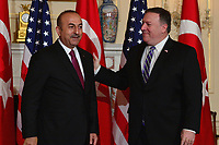 Washington, DC - June 4, 2018: U.S. Secretary of State Michael Pompeo meets with Turkish Foreign Minister Mevlut Cavusoglu at the State Department June 4, 2018.  (Photo by Don Baxter/Media Images International)