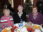 Mary Brennan, Lily Russell and Maureen Gorman pictured at the Order of Malta christmas dinner. Photo: Colin Bell/pressphotos.ie