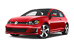 Stock pictures of low aggressive front three quarter view of a 2015 Volkswagen GTI DSG 2 Door Hatchback Low Aggressive