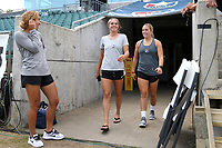 Cary, North Carolina  - Saturday July 01, 2017: Erica Skroski, Madison Tiernan, and Jaelene Hinkle prior to a regular season National Women's Soccer League (NWSL) match between the North Carolina Courage and the Sky Blue FC at Sahlen's Stadium at WakeMed Soccer Park. Sky Blue FC won the game 1-0.