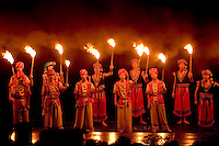 New show on river with costumes on water with 600 actors production in Yangshuo China