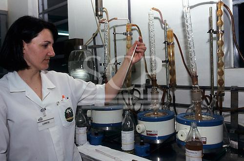 """Rio Grande do Sul, Bento Goncalves, Brazil. """"Aurora"""" wine producer - quality check in the laboratory."""