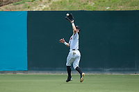 Kannapolis Intimidators right fielder Tyler Frost (1) catches a fly ball during the game against the Hagerstown Suns at Kannapolis Intimidators Stadium on July 17, 2018 in Kannapolis, North Carolina. The Intimidators defeated the Suns 10-9. (Brian Westerholt/Four Seam Images)
