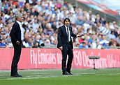 19th May 2018, Wembley Stadium, London, England; FA Cup Final football, Chelsea versus Manchester United; Chelsea Manager Antonio Conte and Manchester Untied Manager Jose Mourinho looking on from the touchline