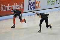 SCHAATSEN: HEERENVEEN: 02-11-2014, IJsstadion Thialf, NK Afstanden, Antoinette de Jong, Manon Kamminga, ©foto Martin de Jong