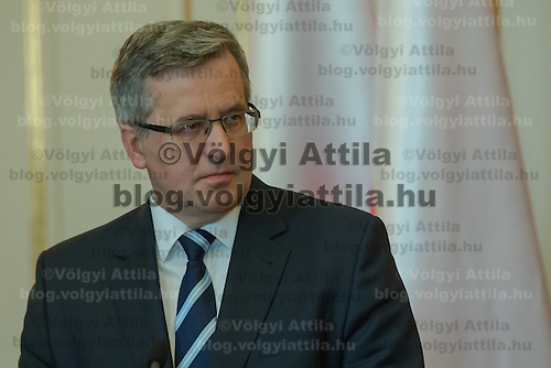 Bronislaw Komorowski president of Poland talks during a press conference in Budapest, Hungary on March 21, 2014. ATTILA VOLGYI
