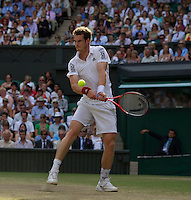 Andy Murray (GBR) (4) against Jo-Wilfred Tsonga (FRA) (10) in the Quarter Finals of the gentlemen's singles. Andy Murray beat Jo-Wilfred Tsonga 6-7 7-6 6-2 6-2 ..Tennis - Wimbledon Lawn Tennis Championships - Day 9 Wed 30 Jun 2010 -  All England Lawn Tennis and Croquet Club - Wimbledon - London - England..© FREY - AMN IMAGES  Level 1, Barry House, 20-22 Worple Road, London, SW19 4DH.TEL - +44 (0) 20 8947 0100.Email - mfrey@advantagemedianet.com.www.advantagemedianet.com