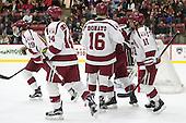 Jimmy Vesey (Harvard - 19), Alexander Kerfoot (Harvard - 14), Ryan Donato (Harvard - 16), Kyle Criscuolo (Harvard - 11) -  - The Harvard University Crimson defeated the visiting Colgate University Raiders 7-4 (EN) on Saturday, February 20, 2016, at Bright-Landry Hockey Center in Boston, Massachusetts.