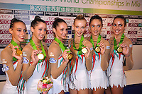 September 12, 2009; Mie, Japan;  Italian rhythmic group wins gold in group All Around at the 2009 World Championships Mie, Japan. (L-R) Romina Laurito, Elisa Blanchi, Daniela Masseroni, Anzhelika Savrayuk, Giulia Galtarossa, Elisa Santoni. Photo by Tom Theobald .