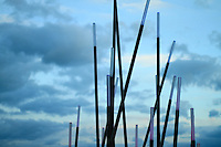 blue lights atop a bamboo like metal pole grove