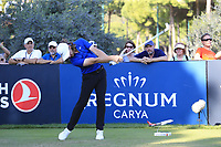 Tommy Fleetwood (ENG) tees off the 11th tee during Sunday's Final Round of the 2018 Turkish Airlines Open hosted by Regnum Carya Golf &amp; Spa Resort, Antalya, Turkey. 4th November 2018.<br /> Picture: Eoin Clarke | Golffile<br /> <br /> <br /> All photos usage must carry mandatory copyright credit (&copy; Golffile | Eoin Clarke)