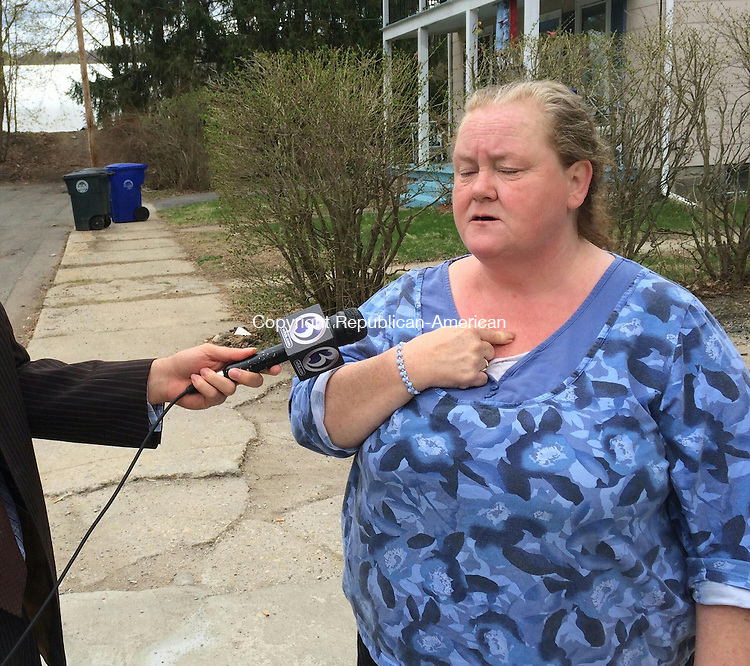TORRINGTON, CT- 01 May 2015 050115BJ01-- Ruth Aeschlimann, mother of murder victim Holly Aeschlimann, speaks with reporters outside her home following the arraignment of Heather Birden on a murder charge. Bruno Matarazzo Jr. Republican-American