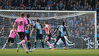 Lawson D'Ath (left)  of Northampton Town scores his goal past Goalkeeper Matt Ingram of Wycombe Wanderers during the Sky Bet League 2 match between Wycombe Wanderers and Northampton Town at Adams Park, High Wycombe, England on 3 October 2015. Photo by Andy Rowland.