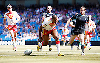PICTURE BY VAUGHN RIDLEY/SWPIX.COM - Rugby League - Super League Magic Weekend - Catalans Dragons v London Broncos - Eithad Stadium, Manchester, England - 27/05/12 - Catalan's Leon Pryce scores a try.]