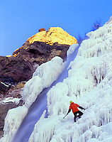 Ice climber Matt Hoskisson enjoys late afternoon on Bridal Veil Falls, Wasatch Mts. Utah.  (M.R.)