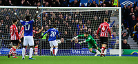 Lincoln City's Josh Vickers fails to prevent an effort from Everton's Ademola Lookman<br /> <br /> Photographer Chris Vaughan/CameraSport<br /> <br /> Emirates FA Cup Third Round - Everton v Lincoln City - Saturday 5th January 2019 - Goodison Park - Liverpool<br />  <br /> World Copyright &copy; 2019 CameraSport. All rights reserved. 43 Linden Ave. Countesthorpe. Leicester. England. LE8 5PG - Tel: +44 (0) 116 277 4147 - admin@camerasport.com - www.camerasport.com