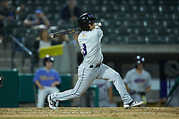Nick Madrigal (3) of the Winston-Salem Dash follows through on his swing against the Myrtle Beach Pelicans at TicketReturn.com Field on May 16, 2019 in Myrtle Beach, South Carolina. The Dash defeated the Pelicans 6-0. (Brian Westerholt/Four Seam Images)