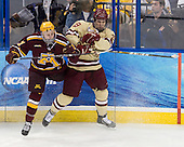 Sam Warning (Minnesota - 11), Chris Kreider (BC - 19) - The Boston College Eagles defeated the University of Minnesota Golden Gophers 6-1 in their 2012 Frozen Four semi-final on Thursday, April 5, 2012, at the Tampa Bay Times Forum in Tampa, Florida.