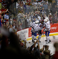 Jun 7, 2007; Hamilton, ON, CAN; Hamilton Bulldogs center (32) Ajay Baines celebrates his game winning goal with teammates center (26) Maxim Lapierre and defenceman (2) Ryan O'Byrne during the third period in game five of the Calder Cup finals at Copps Coliseum in Hamilton, ON. The Bulldogs defeated the Bears 2-1 to win the Calder Cup. Mandatory Credit: Ron Scheffler