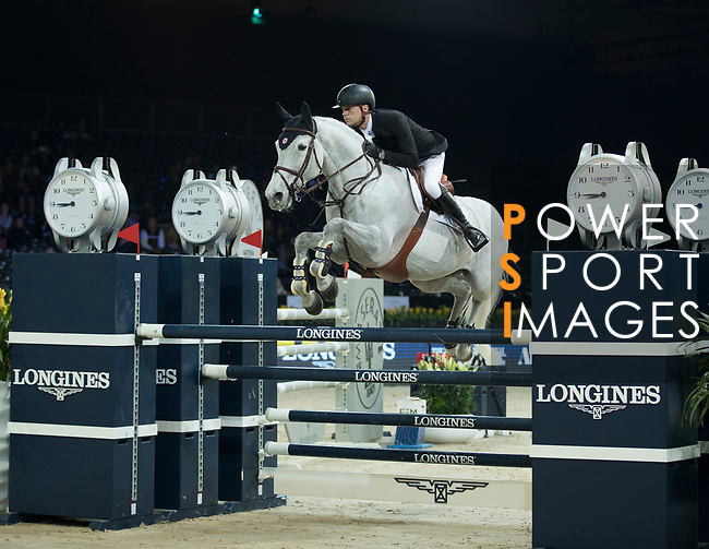Jérôme Guery of Belgium riding Papillon Z the Longines Speed Challenge during the Longines Masters of Hong Kong at AsiaWorld-Expo on 10 February 2018, in Hong Kong, Hong Kong. Photo by Ian Walton / Power Sport Images