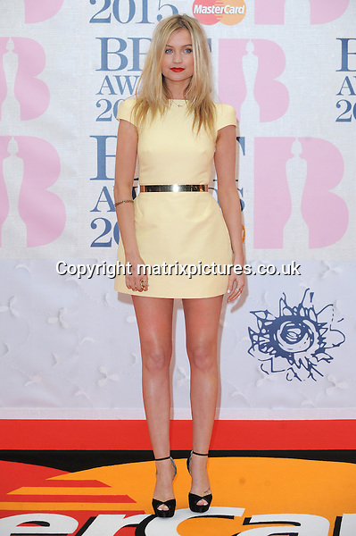 NON EXCLUSIVE PICTURE: PAUL TREADWAY / MATRIXPICTURES.CO.UK<br /> PLEASE CREDIT ALL USES<br /> <br /> WORLD RIGHTS<br /> <br /> Irish television presenter Laura Whitmore attending the BRIT Awards 2015 at the O2 Arena, in London.<br /> <br /> FEBRUARY 25th 2015<br /> <br /> REF: PTY 15627